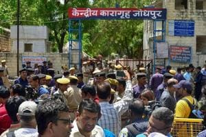 Security personnel stand guard outside Central Jail ahead of the trial court verdict in the rape case against self-styled godman Asaram in Jodhpur on Wednesday.