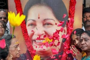 AIADMK members pay floral tribute to former Tamil Nadu chief minister J Jayalalithaa on her 70th birth anniversary in Coimbatore on February 24.