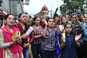 Members of a college students union in Shimla protest the Kotkhai rape and murder on July 20, 2017.