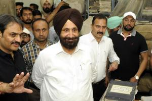 Punjab jails and cooperation minister Sukhjinder Singh Randhawa during his  surprise visit to the Central Jail in Patiala on Wednesday.
