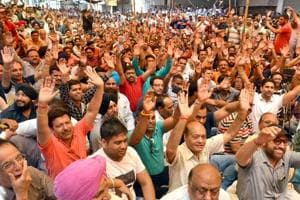 A dharna against caste violence in Phagwara on Wednesday.