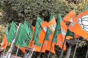 BJP party flags at the party headquarter in New Delhi.