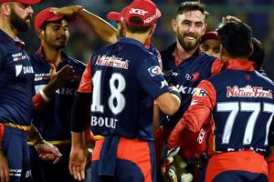 Get highlights of Delhi Daredevils vs Kolkata Knight Riders, IPL 2018 here. DD cricketers celebrate after their win over KKR in the Indian Premier League (IPL) 2018 clash in New Delhi on Friday.