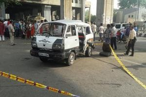 The school van, which was carrying more than 20 children, was rammed by a milk tanker near the Kanhaiya Nagar metro station  in New Delhi on Thursday. One girl died and 17 others were injured in the accident.