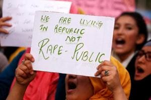 Students inSrinagar shout slogans during a protest against the rape and murder of an eight-year-old girl in Kathua.