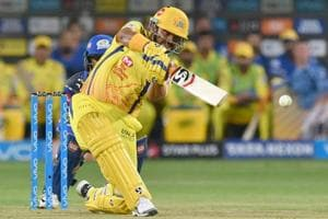 Suresh Raina in action during the Indian Premier League (IPL) 2018 match between Chennai Super Kings and Mumbai Indians at the MCA International Stadium on Saturday.
