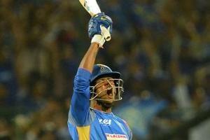 Rajasthan Royals batsman K Gowtham celebrates after hitting the winning runs during the 2018 Indian Premier League (IPL 2018) match against Mumbai Indians in Jaipur on April 22.