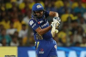 Rohit Sharma, Mumbai Indians captain, during the IPL 2018 match against Chennai Super Kings at the MCA Cricket Stadium in Pune on Saturday. Get highlights of Chennai Super Kings (CSK) vs Mumbai Indians (MI), Indian Premier League (IPL) 2018 here.