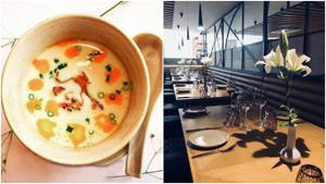 Vietnamese creamy soup and interiors of Kiara Soul Kitchen.