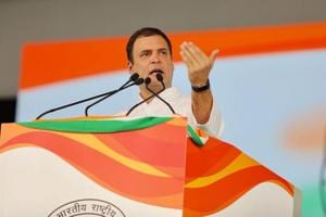 Congress President Rahul Gandhi addresses the 'Jan Aakrosh' rally in New Delhi on Sunday.