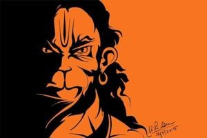 This vector-style image of Lord Hanuman can be seen on vehicles throughout the country.