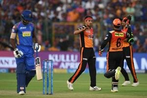 Sunrisers Hyderabad's Siddarth Kaul (2L) celebrates the wicket of Rajasthan Royals' Sanju Samson in an Indian Premier League (IPL) 2018 at the Sawai Mansingh Stadium in Jaipur on Sunday.