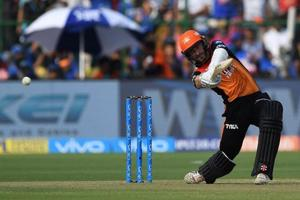 Kane Williamson in action during match twenty eight of the 2018 Vivo Indian Premier League 2018 (IPL 2018) between Rajasthan Royals and Sunrisers Hyderabad at the The Sawai Mansingh Stadium in Jaipur.