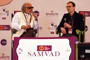 Martin Puchner (R) in conversation with Homi K. Bhabha (L) during a session at the Jaipur Literature Festival (JLF) at Diggi Palace in January.