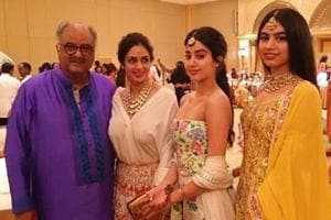 Janhvi and Khushi Kapoor with their parents in happier times.