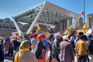 Khalistan flags and separatist placards were prominently visible at the nagar kirtan in Toronto on Sunday.
