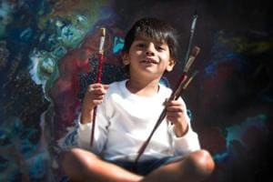 Four-year-old Advait Kolarkar, who is being recognised as a prodigy and has exhibited his work in India, Canada and the US.
