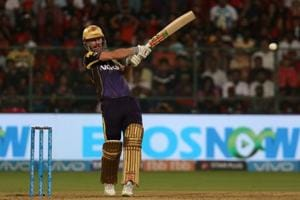 Chris Lynn of the Kolkata Knight Riders plays a shot during an Indian Premier League 2018 (IPL 2018) against Royal Challengers Bangalore at the M. Chinnaswamy Stadium in Bangalore on Sunday.