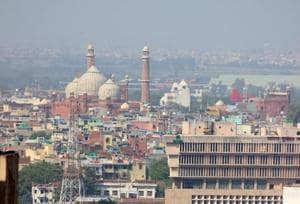 Delhi's skyline that comprises Jama Masjid in Old Delhi, and the new constructions coming up in central and other parts of Delhi.