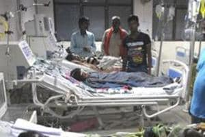 An inside view of a ward in BRD Hospital, Gorakhpur , where several children died last August after oxygen supply was allegedly stopped for non-payment of dues.
