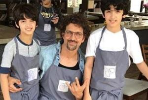 Hrithik Roshan was spotted with Hridhaan and Hrehaan at the Mumbai screening of Avengers Infinity Wars.