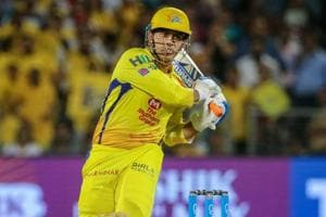 Chennai Super Kings (CSK) captain MS Dhoni hits a boundary during the 2018 Indian Premier League (IPL 2018) match against Delhi Daredevils in Pune on Monday.