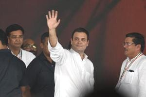 Congress president Rahul Gandhi during a rally at Ramlila Ground in New Delhi.