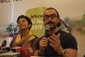 Aamir Khan and his wife Kiran Rao address a press conference regarding Jalmitra campaign for their Paani Foundation in Nagpur.