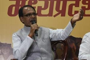 Madhya Pradesh chief minister Shivraj Singh Chouhan addressing a press conference in Bhopal.