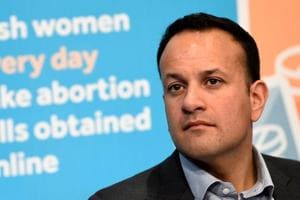 Irish Prime Minister Taoiseach Leo Varadkar looks on at a Fine Gael party event pressing for a