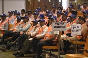 Delhi Traffic Police inducted 319 people as traffic sentinels on Monday.