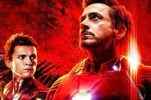 Tony Stark, Peter Parker and Doctor Strange in a banner for Avengers: Infinity War.