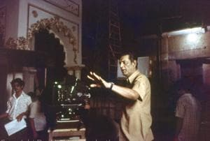 Director Satyajit Ray Ray operating the camera during the shoot of Shatranj ke Khilari
