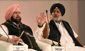 Sukhbir Singh Badal (right) wants Punjab chief minister Capt Amarinder Singh to produce a copy of the Class-11 textbook to which several chapters on Sikh history have been shifted from the older Class-12 book.