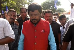 Union Minister Ramnath Athawale leads a morcha on Wednesday.