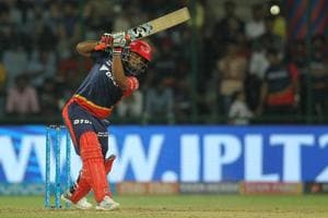 Rishabh Pant  of the Delhi Daredevils raises his bat after scoring a half-century against Rajasthan Royals in an Indian Premier League (IPL) 2018 match in New Delhi on Wednesday.