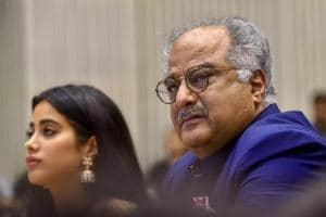 Boney Kapoor and his daughter Janhvi, during the 65th National Film Awards function at Vigyan Bhavan in New Delhi on Thursday.