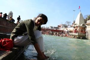 Meera, played by 20-year-old Antara Rao, struggles to let go of her mother's ashes in the Ganges in the film.