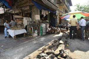 A view of the shops from where the MCD officials removed encroachments during yesterday's anti-encroachment drive at Khari Baoli, New Delhi.