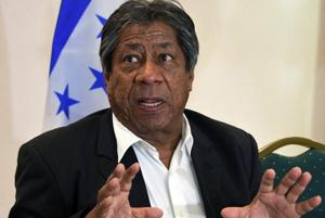 """The former head coach of Salvadoran national football team, Honduran Ramon """"El Primitivo"""" Maradiaga, speaks during a press conference in Tegucigalpa, on May 2, 2018. Maradiaga, denied the charges of """"attempt of manipulation"""" during the CONCACAF qualifying matches heading to Russia"""