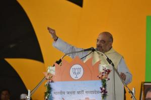 Bharatiya Janata Party president Amit Shah addresses party's state-level meeting ahead of Madhya Pradesh assembly elections in Bhopal, on Friday.