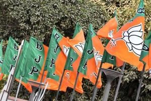 BJP flags at the party headquarter in New Delhi.