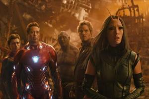 This image released by Marvel Studios shows, from left, Tom Holland, Robert Downey Jr., Dave Bautista, Chris Pratt and Pom Klementieff in a scene from Avengers: Infinity War