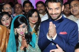 Tej Pratap Yadav with fiancee Aishwarya Rai at their engagement ceremony in Patna. The wedding is scheduled to take place on May 12.