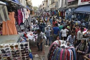 Encroachments by shop owners and street hawkers at Sarojini Nagar Market in New Delhi.