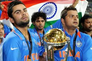 Virat Kohli (L) was part of the Indian cricket team which clinched the World Cup title in 2011 under the captaincy of MS Dhoni.