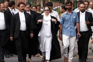 Deepika Singh Rajawat, the lawyer of Kathua rape-murder case victim, comes out of the Supreme Court in New Delhi.