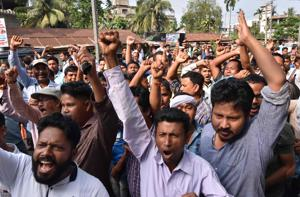 People  in Guwahati protest against the Citizenship (Amendment) Bill 2016 proposal to provide citizenship or stay rights in India to minorities from Bangladesh, Pakistan and Afghanistan.