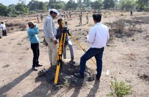 District authorities conducting joint measurement survey in Shil village, Thane on Monday.