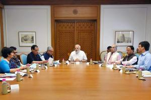 Prime Minister Narendra Modi reviews the preparations for the launch of a health assurance programme under Ayushman Bharat, in New Delhi on Monday.